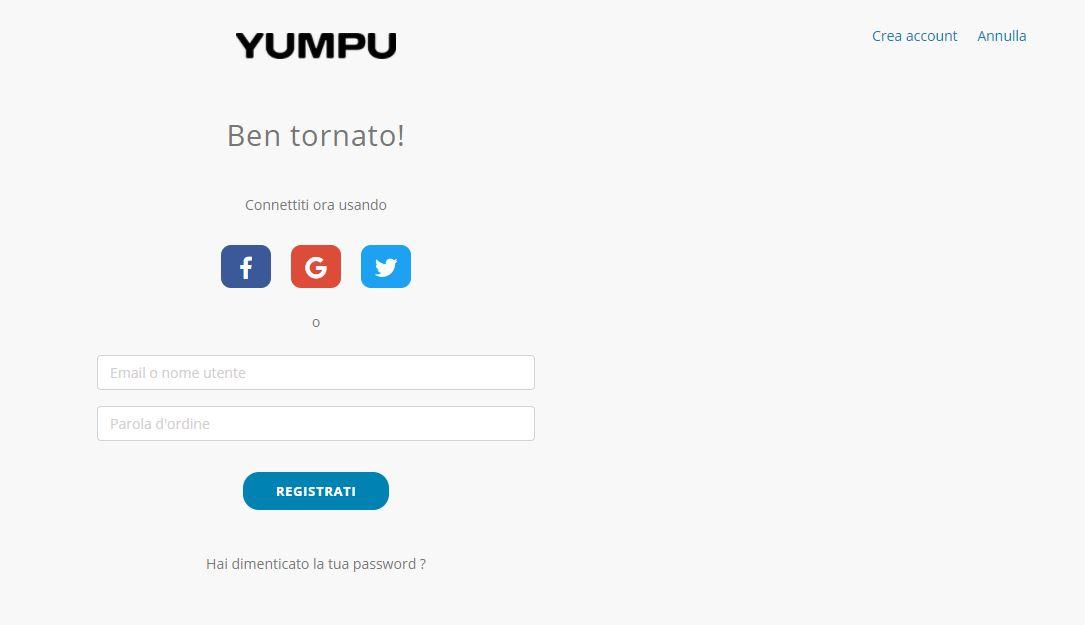 Pagina di registrazione di YumpuPublishing  al pubblicare una rivista online