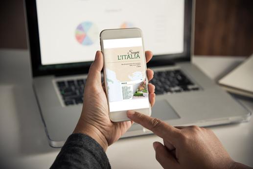 Rivista digitale sul smartphone con un effetto di capovolgimento di pagina